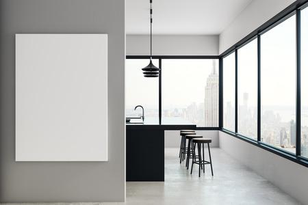 Interior De Cocina Moderna Con Cartelera Vacia Y Vista Panoramica