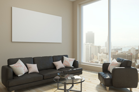 Bright living room interior with panoramic city view, daylight and empty banner on wall. Mock up, 3D Rendering  Standard-Bild