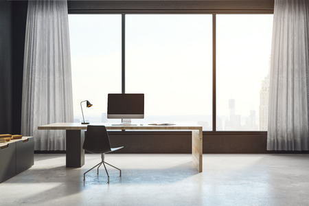 Modern office interior with workplace, window with city view and copy space. Mock up, 3D Rendering Standard-Bild