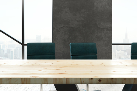 Contemporary boardroom interior with furniture and city view with daylight. Workplace and style concept. 3D Rendering