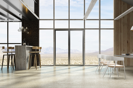 Loft living room restaurant interior with furniture and landscape view. 3D Rendering