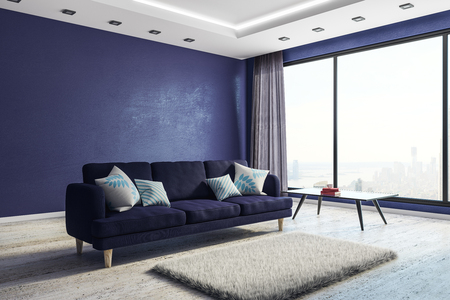 Blue living room interior with furniture, city view and copy space on wall. Mock up, 3D Rendering