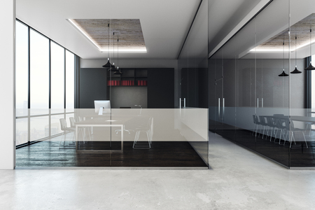 Contemporary conference room interior with furniture, panoramic city view and daylight. 3D Rendering