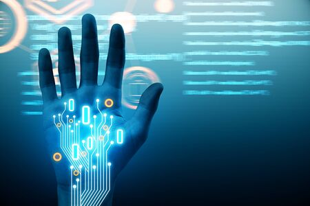 Abstract hand with glowing circuit on dark backdrop. Robotics and cyberspace concept. 3D Rendering