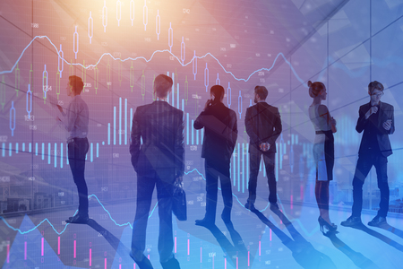Businesspeople in abstract meeting room with forex chart. Finance and conference concept. Double exposure