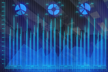 Abstract forex chart backdrop. Investment, trade and future concept. 3D Rendering
