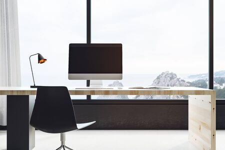 Contemporary office interior with workplace, window with city view and copy space. Mock up, 3D Rendering Standard-Bild