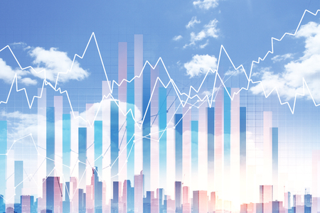 Creative business chart on bright city background. Investment and finance concept. Double exposure