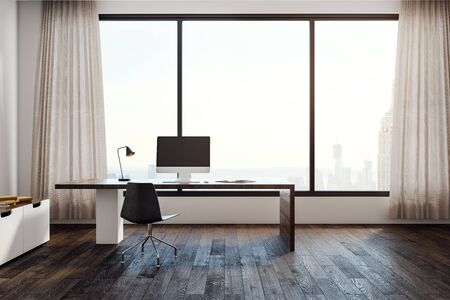 Bright office interior with workplace, window with city view and copy space. Mock up, 3D Rendering