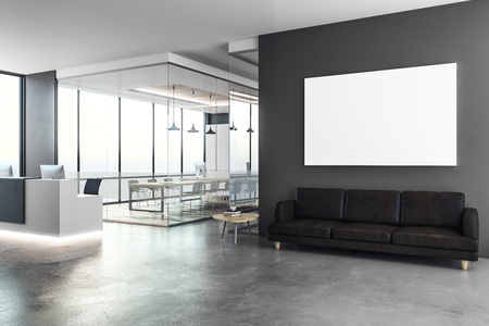 Concrete office interior with reception desk and blank poster on wall. Mock up, 3D Rendering