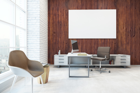 Modern office interior with workplace, city view and empty banner on wooden wall. Mock up, 3D Rendering
