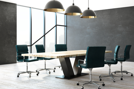 Contemporary conference room interior with furniture and city view with daylight. Workplace and style concept. 3D Rendering  Standard-Bild