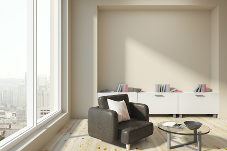 Modern living room interior with panoramic city view, daylight and copy space on wall. Mock up, 3D Rendering