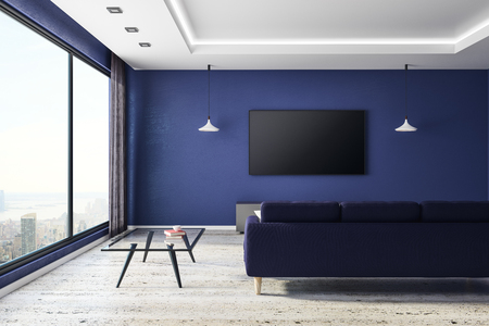 Front view of blue living room interior with empty TV screen and furniture. Technology, presentation and lifestyle concept. Mock up, 3D Rendering  Standard-Bild