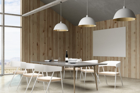 Contemporary loft living room restaurant interior with furniture, landscape view and empty billboard. 3D Rendering