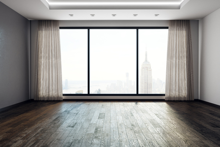 Contemporary empty living room interior with panoramic New York city view and curtains. 3D Rendering