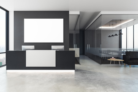 Modern office interior with reception desk and empty poster on wall. Mock up, 3D Rendering