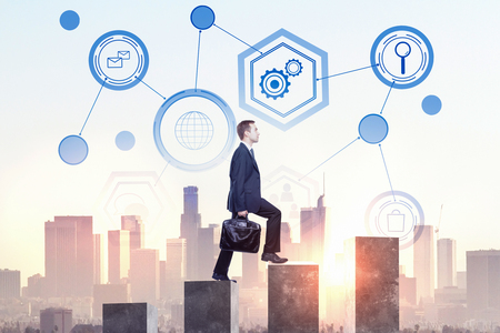 Side view of young businessman climbing business chart ladder on abstract city background with business interface. Standard-Bild
