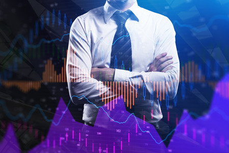 Businessman with folded arms standing on abstract forex chart city background. Fund management and trade concept. Double exposure