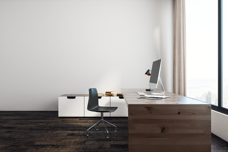 White office interior with workplace, window with city view and copy space. Mock up, 3D Rendering