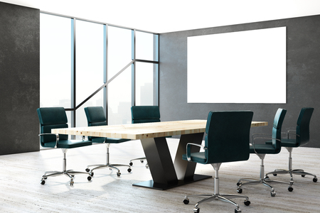 Modern meeting room interior with empty poster and daylight. Mock up, 3D Rendering