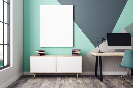Modern blue interior with workplace, drawer cabinet, window with city view and blank poster on wall. Mock up, 3D Rendering  Standard-Bild