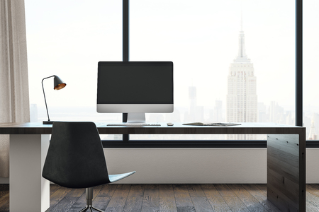 New office interior with workplace, window with city view and copy space. Mock up, 3D Rendering Standard-Bild