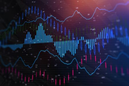 Creative forex chart wallpaper. Investment, trade and future concept. 3D Rendering