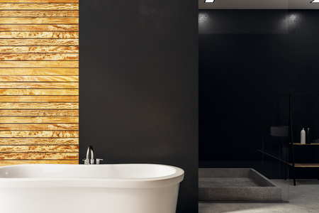 Front view of contemporary bathroom interior with bath tub, decorative items and copy space on wall. Mock up, 3D Rendering