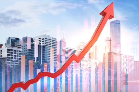 Abstract upward red business chart arrow on city and sky background. Success and finance concept. Double exposure