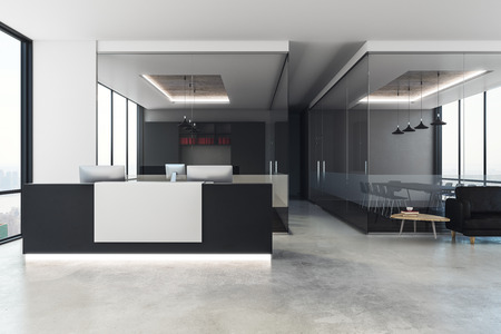 Modern office interior with reception desk, city view and daylight. 3D Rendering