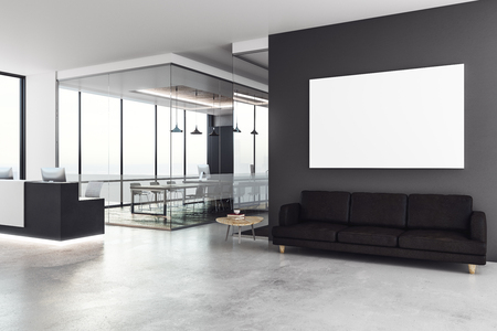 Modern office interior with reception desk and empty billboard on wall. Mock up, 3D Rendering
