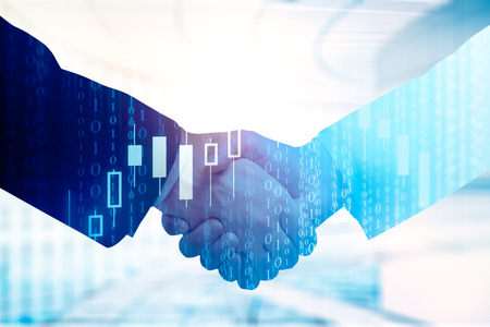 Close up of handshake on abstract background with forex chart. Teamwork and trade concept. Double exposure