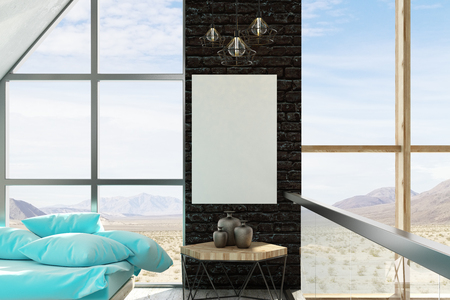 Modern living room interior with empty billboard and panoramic landscape view. Mock up, 3D Rendering