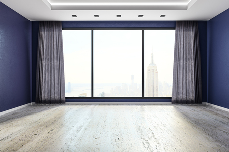 Modern empty living room interior with panoramic New York city view and curtains. 3D Rendering  Standard-Bild