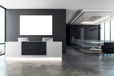 Modern office interior with reception desk and empty banner on wall. Mock up, 3D Rendering
