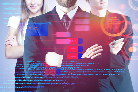 Businessmen with folded arms standing on abstract digital background. Computing and teamwork concept. Double exposure