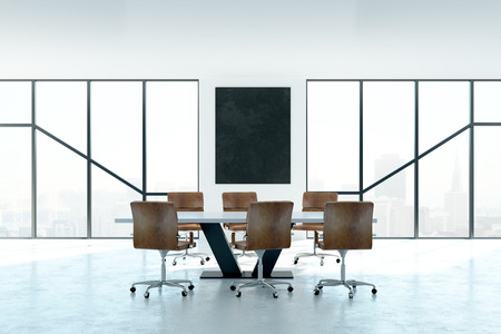 Contemporary conference room interior with empty poster and daylight. Mock up, 3D Rendering