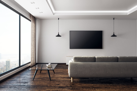Front view of contemporary living room interior with empty TV screen and furniture. Technology, presentation and lifestyle concept. Mock up, 3D Rendering