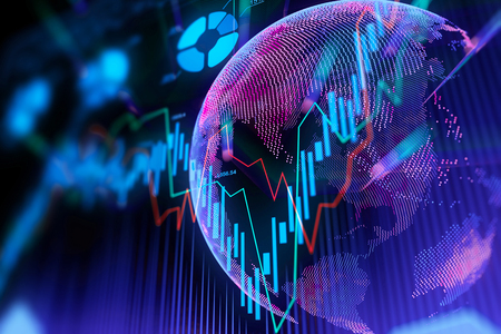 Creative globe and forex chart texture. Global business and trade concept. 3D Rendering  Stock Photo