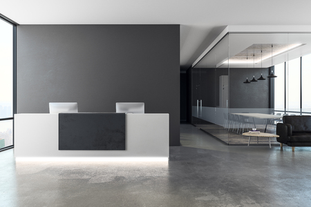 Contemporary office interior with reception desk and copy space on wall. Mock up, 3D Rendering