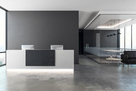 Nowoczesne wnętrza biurowe z recepcją i przestrzenią do kopiowania na ścianie. Makieta, renderowanie 3D
