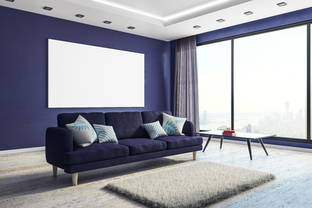 Side view of modern living room interior with furniture, city view and empty banner on wall. Mock up, 3D Rendering