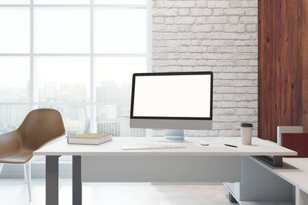 Close up of desktop with empty computer in modern office with city view. Mock up, 3D Rendering