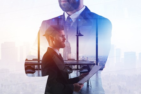 Leadership and work concept. Businessman on abstract white office and city background with sunlight. Double exposure  Standard-Bild