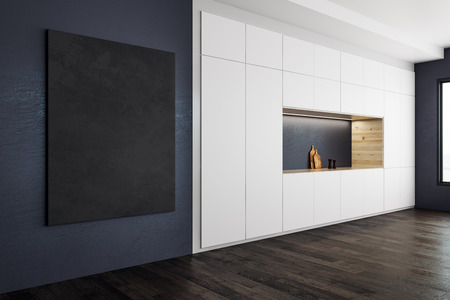 Modern kitchen interior with blank banner on wall. Style and design concept. Mock up, 3D Rendering  Standard-Bild