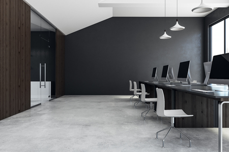 Concrete coworking office interior with equipment, furniture, city view and daylight. 3D Rendering