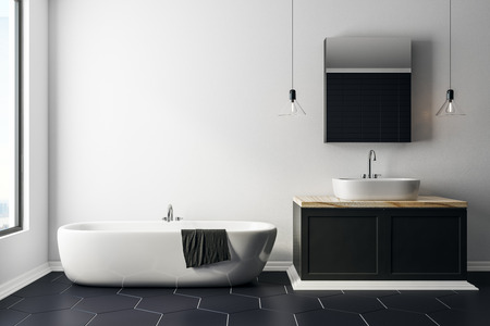 Modern bathroom interior with copy space on wall and daylight. Style and design concept. 3D Rendering  Archivio Fotografico