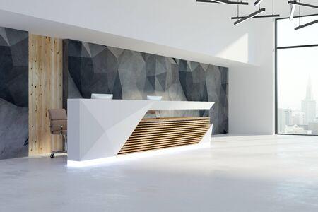 Seitenansicht des zeitgenössischen Büroinnenraums mit Aufnahmeschreibtisch- und Stadtansicht. 3D-Rendering