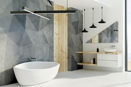 Contemporary bathroom interior with furniture and sunlight. 3D Rendering